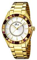 Lotus Women's Quartz Watch with White Dial Analogue Display and Stainless Steel Gold Plated Bracelet 15892/1