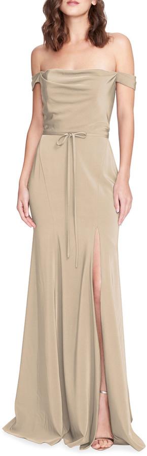 Marchesa Notte Bridesmaid Stretch Satin Crepe Off-Shoulder Gown