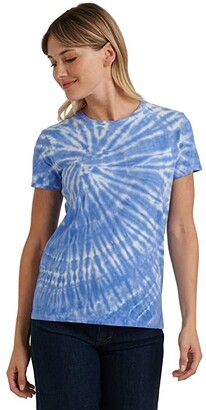 Lucky Brand Short Sleeve Crew Neck Tie-Dye Tee (Blue Multi) Women's Clothing