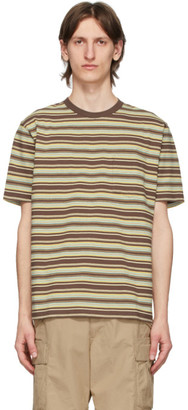 Beams Brown Striped Pocket T-Shirt