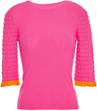 See by Chloe Two-tone Ribbed And Cloque-knit Top