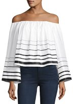 KENDALL + KYLIE Striped Off-the-Shoulder Long-Sleeve Crop Top, White/Black