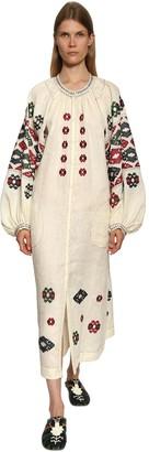 Vita Kin Embroidered Linen Shirt Dress