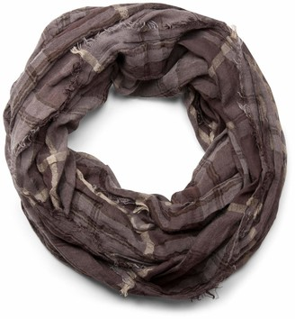 styleBREAKER plaid pattern loop tube scarf in crash look with fringes soft quality unisex 01018057