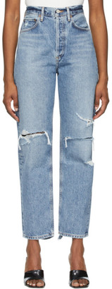 AGOLDE Blue Distressed 90s Mid-Rise Loose Fit Jeans