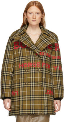 Burberry Tan Down Vintage Check Double-Breasted Coat