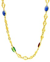 David Webb 18k Yellow Gold Ruby, Emerald & Sapphire Vintage Necklace