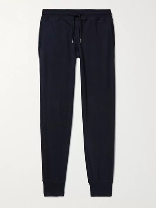 Tom Ford Slim-Fit Tapered Cotton, Silk and Cashmere-Blend Jersey Sweatpants - Men - Blue