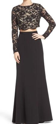 Aidan Mattox Aidan Women's Lace and Taffeta Two Piece Gown