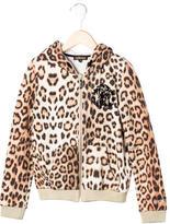 Roberto Cavalli Girls' Leopard Print Hooded Jacket