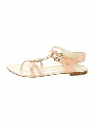 Chanel Camellia Accent Leather Slides Pink