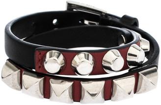 Prada Black Leather Studded Silver Tone Double Wrap Bracelet S