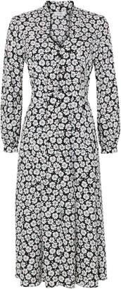 Wallis PETITE Navy Floral Print Tie Neck Midi Dress