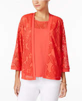 Alfred Dunner Petite Layered-Look Mesh Top