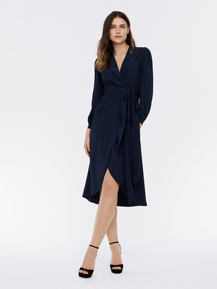 Diane von Furstenberg Stella Silk Crepe de Chine Faux-Wrap Midi Dress