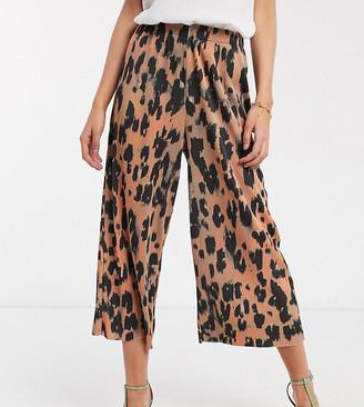 ASOS DESIGN Petite plisse culotte in animal print
