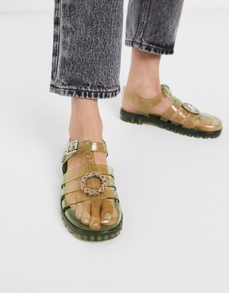 Asos DESIGN Feature embellished fisherman jelly flat sandals in green