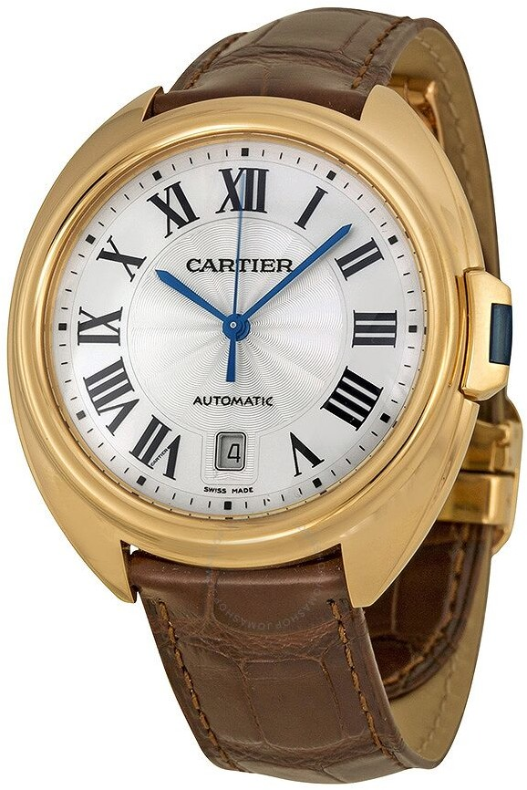 Cartier Cle Automatic Silver Flinque Dial 18kt Rose Gold Men's Watch