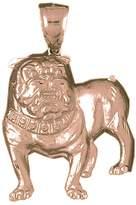 NecklaceObsession 14K Rose Gold Bulldog Pendant Necklace - 64 mm