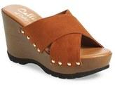 Callisto Women's 'Cinnamon' Crisscross Platform Wedge Sandal