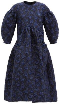 Simone Rocha Puff-sleeved Floral-cloque Midi Dress - Navy Print