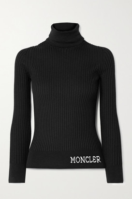 Moncler Intarsia Ribbed Wool Turtleneck Sweater - Black