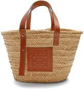 Loewe Leather-trimmed medium raffia basket bag