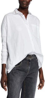 Brunello Cucinelli Monili-Beaded Cotton Poplin Shirt with Fitted Knit Sleeves