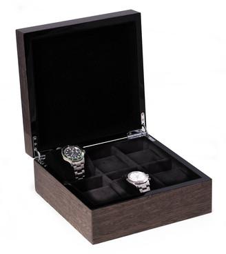 Bey-Berk Men's High Lacquered Italian Veneer 6-Watch Storage Box