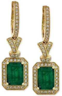 Effy Brasilica by Emerald (2-7/8 ct. t.w.) and Diamond (1/2 ct. t.w.) Earrings in 14k Gold, Created for Macy's