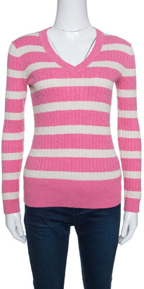 Tommy Hilfiger Pink and Cream Striped Cable Knit V-Neck Sweater S
