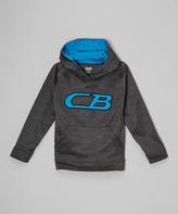 CB Sports Black & Neon Turquoise Logo Hoodie - Boys