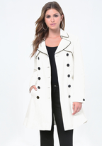 Bebe Piped Flared Trench Coat