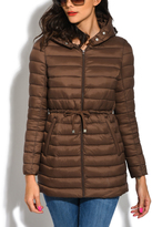 Chocolate Brown Long Down Narrow-Section Puffer Jacket