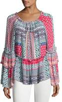 Parker Scarlet Silk Peasant Blouse, Pink Blue Multi
