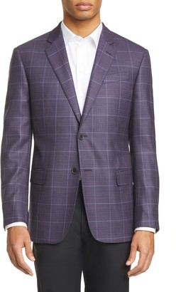 Emporio Armani G Line Trim Fit Windowpane Wool Sport Coat