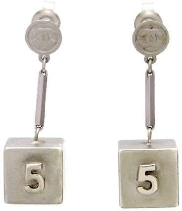 Chanel Silver Tone Metal No. 5 Cube Dangle Metallic Stud Earrings