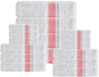 Enchante Home Unique 16Pcs Salmon Stripe Towel Set