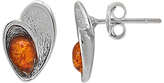 Goldmajor Sterling Silver Amber Teardrop Shell Stud Earrings, Silver/Cognac