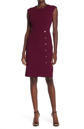 London Times Scuba Crepe Button Skirt Sheath Dress