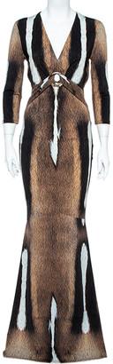 Roberto Cavalli Brown Fur Print Jersey Brooch Detail Maxi Dress M