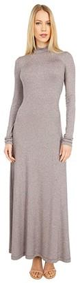 M Missoni Long Sleeve Mock Neck Maxi Jersey Dress (Wine) Women's Clothing
