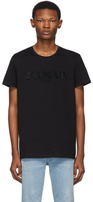 Balmain Black Logo Applique T-Shirt