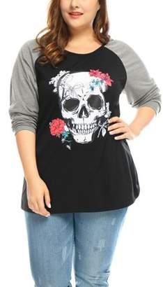 Unique Bargains Women Plus Size Skull Raglan Long Sleeve Round Neck T-Shirt Blouse