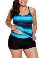 American Trends Two Piece Criss Cross Back Tankini Boyshorts Swimsuit Plus Size Retro Swimwear