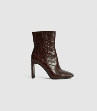 Reiss Vogue - Leather Croc Embossed Ankle Boots in Plum