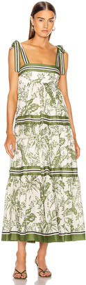 Zimmermann Empire Shoulder Dress in Khaki Palm | FWRD