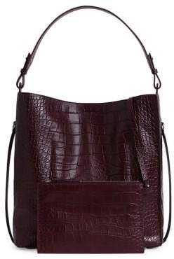 AllSaints Polly Croc-Embossed Tote Bag