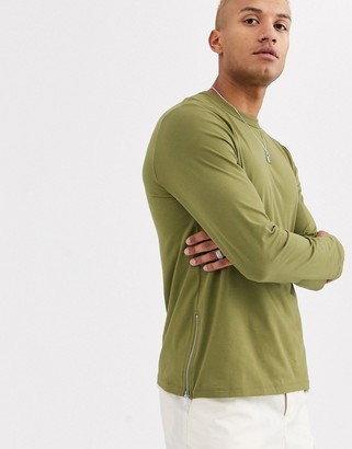 Asos Design DESIGN long sleeve t-shirt with side zips in green