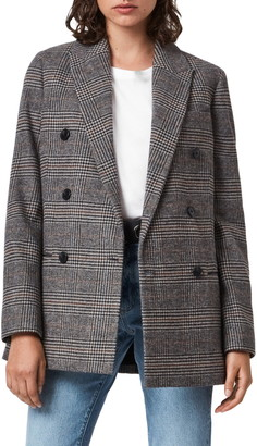 AllSaints Astrid Check Double Breasted Blazer